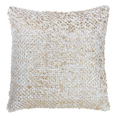 Foil Printed Pom Pom Square Throw Pillow Gold - Saro Lifestyle