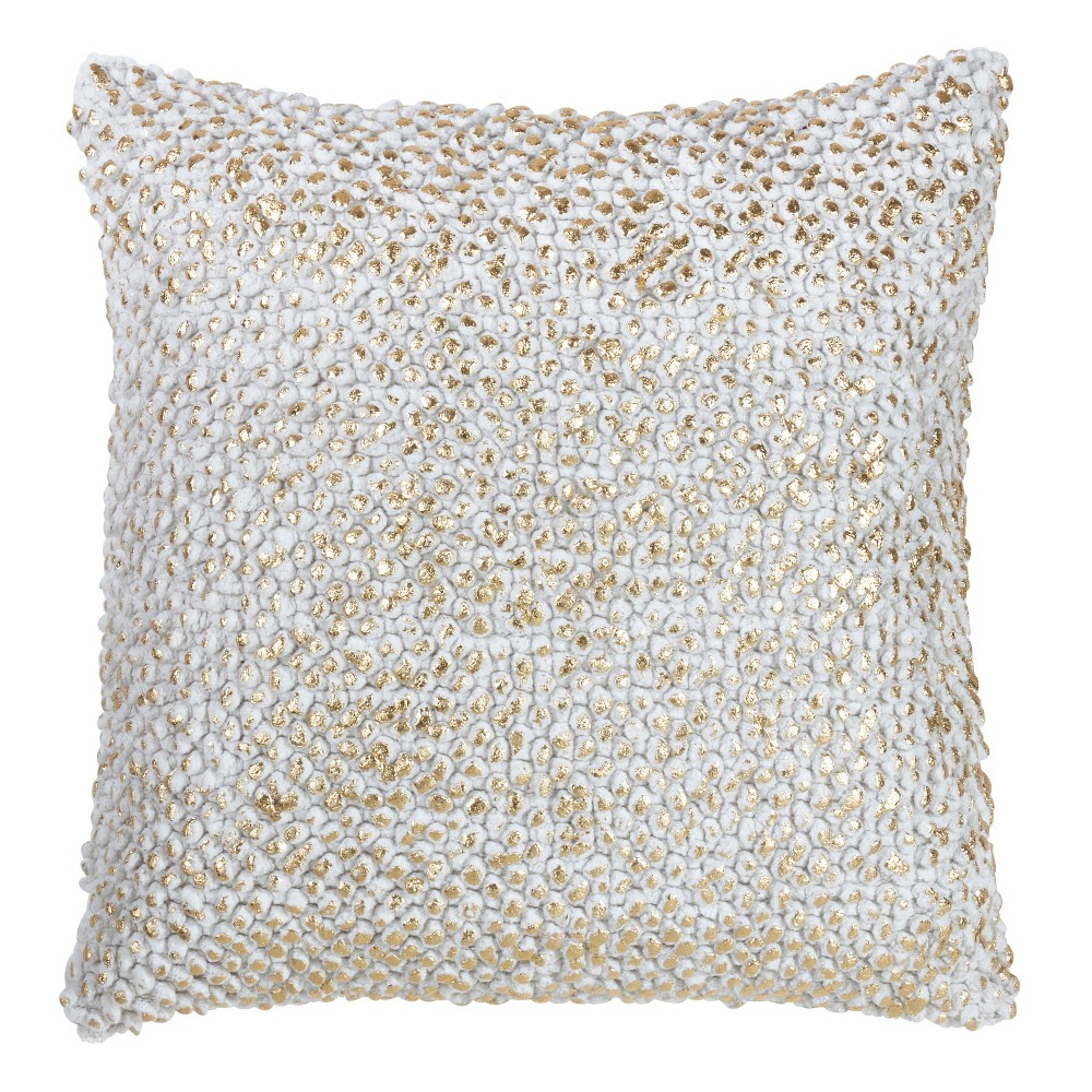Foil Printed Pom Pom Square Throw Pillow Gold - Saro Lifestyle