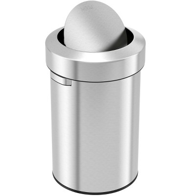 iTouchless Swing Top Kitchen Trash Can 17 Gallon Silver Stainless Steel