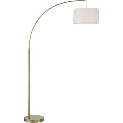 360 Lighting Mid Century Modern Tall Arc Floor Lamp Brass Metal White Drum Shade for Living Room Reading House Bedroom Home Office