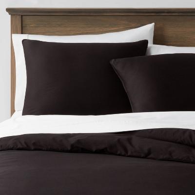 3pc Full/Queen Washed Cotton Sateen Duvet & Sham Set Black - Threshold™