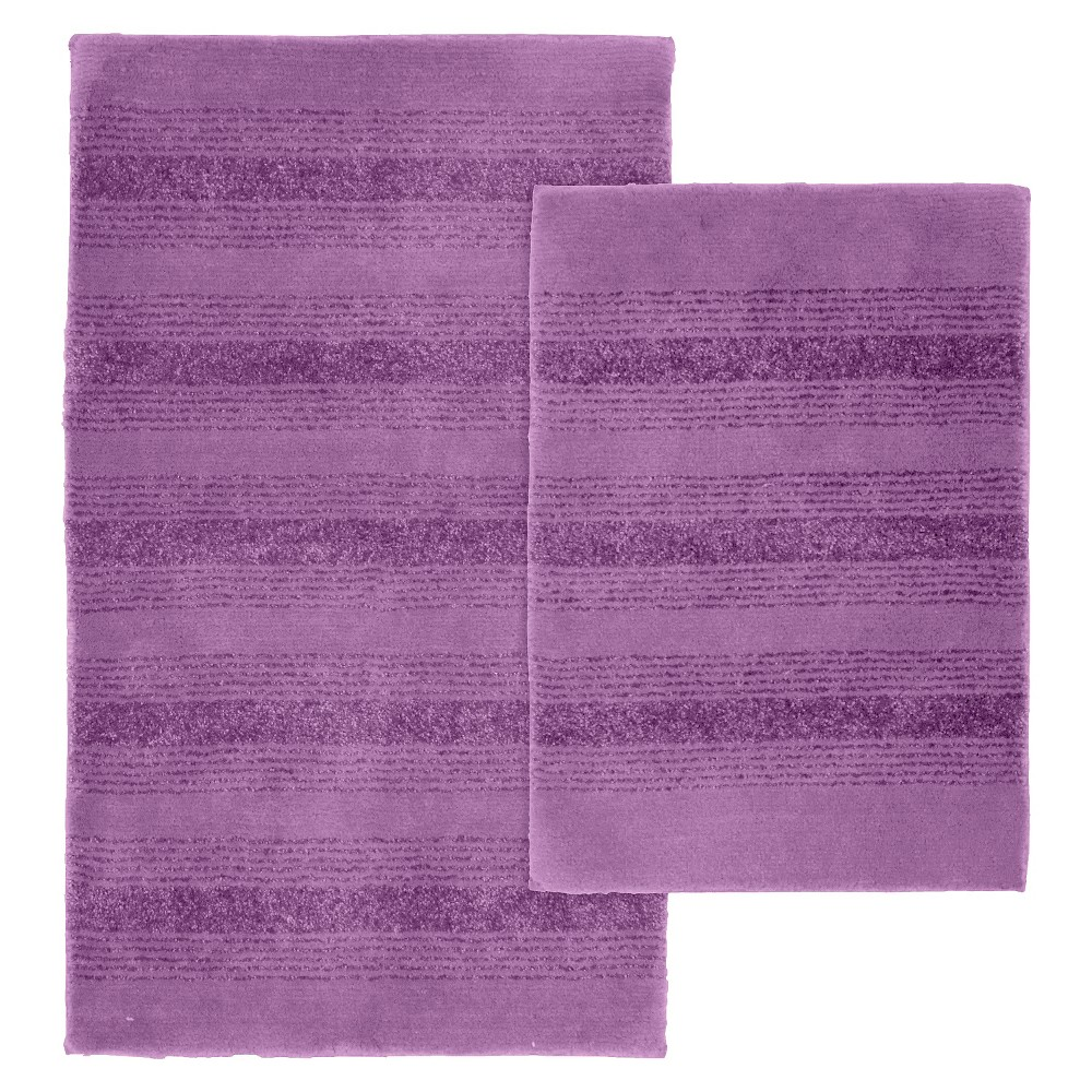 Image of Garland 2 Piece Essence Washable Nylon Bath Rug Set - Purple