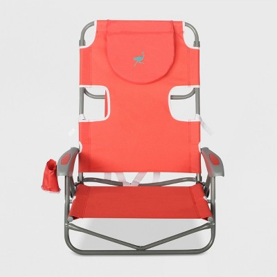 Beach Chair with Backpack Straps - Red - Ostrich