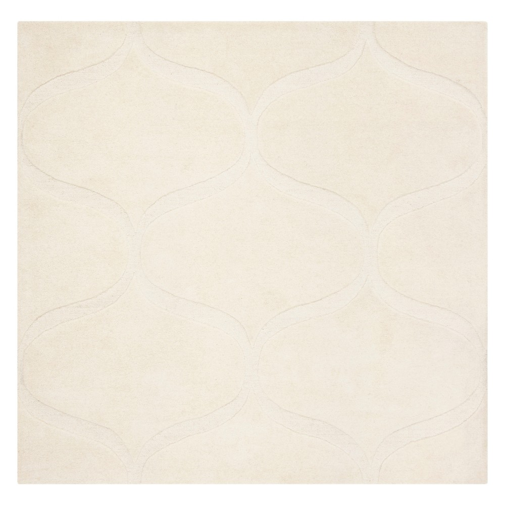6 X6 Geometric Tufted Square Area Rug Ivory Ivory Safavieh