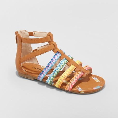 1789bc188be3 Girls  Gladiator Rainbow Valiant Sandals - Cat   Jack™ Cognac   Target