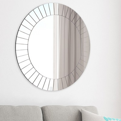 35  Frameless Beveled Round Wall Mirror Silver - Gallery Solutions