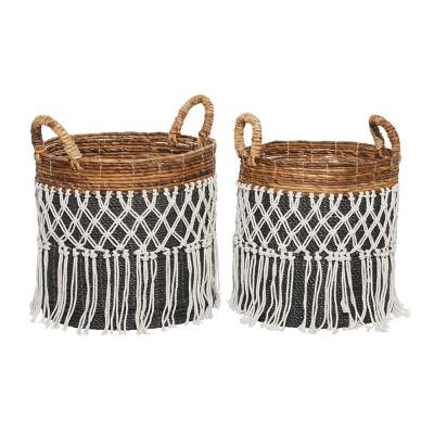 2pk Banana Leaf Storage Baskets Black