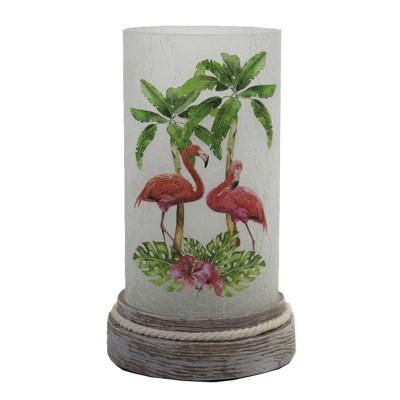 "Stony Creek 8.5"" Flamingos Pre-Lit Cylinder Base Wood Base  -  Novelty Sculpture Lights"