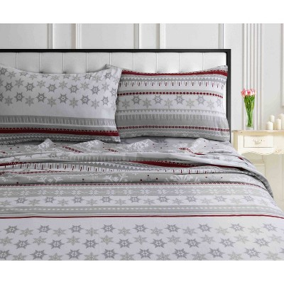 King 2pk Printed Pattern Heavyweight Pillowcase Set Snowflake - Tribeca Living