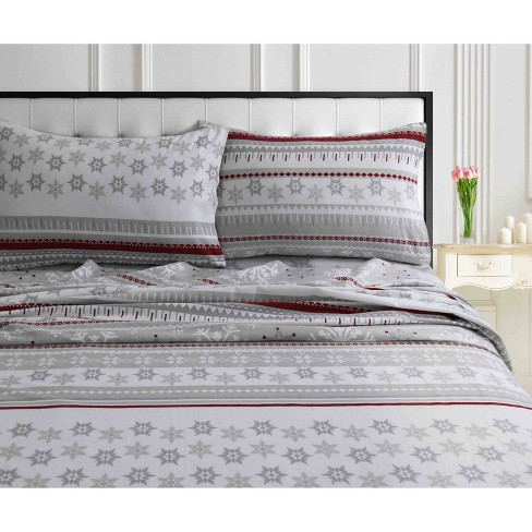 Queen Printed Pattern Extra Deep Pocket Heavyweight Flannel Sheet Set Snowflake Tribeca Living Target