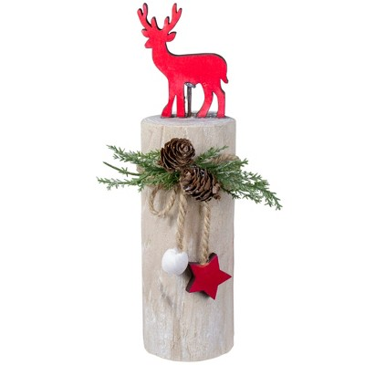 "Northlight 8.5"" Red Reindeer On a Wooden Base With Pinecones Christmas Decoration"