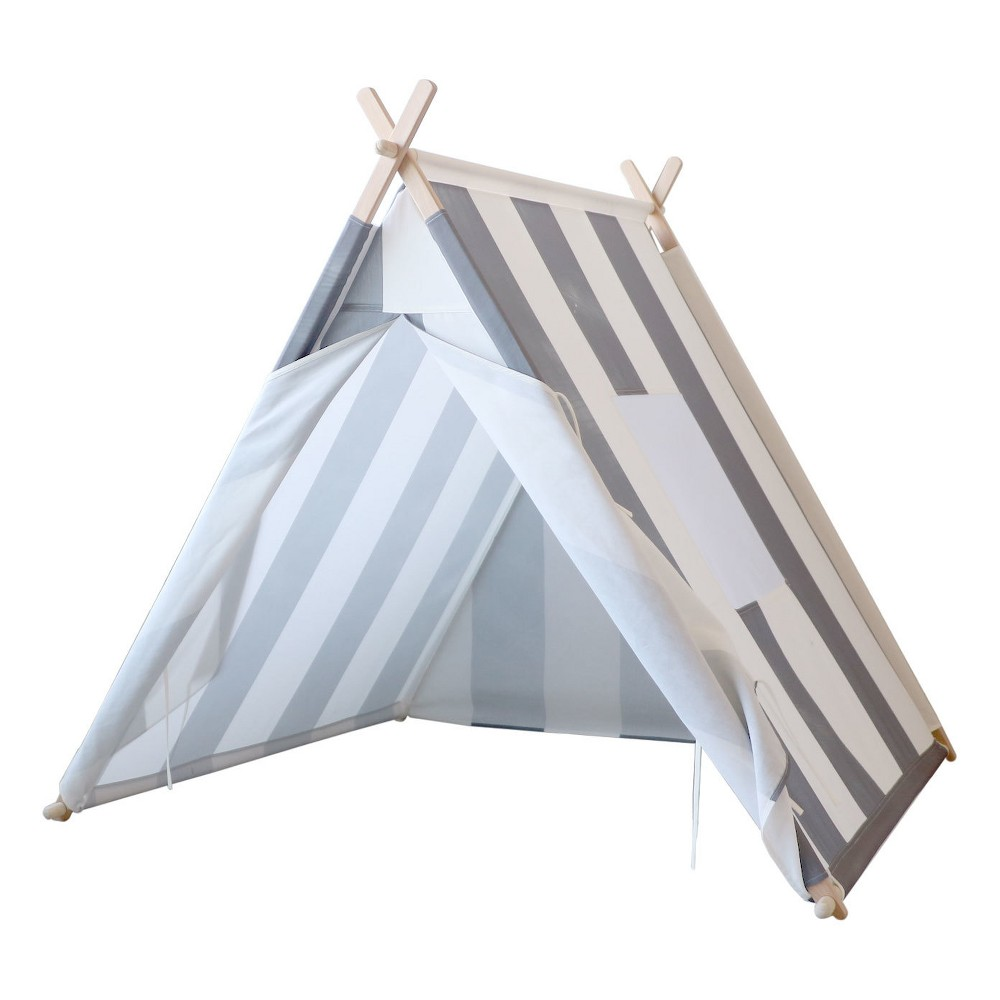 Image of Kids Play Tent Gray And White Stripes - Tnee's Tpees