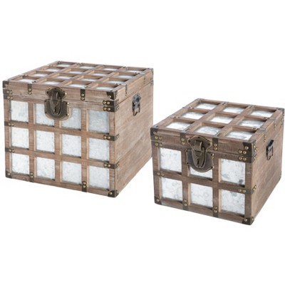 Vintiquewise Wooden Square Galvanized Metal Lined Storage Trunk, Set of 2