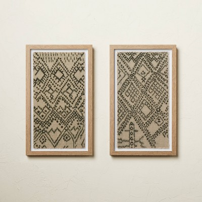 """(Set of 2) 12"""" x 20"""" Burlap Framed Wall Art - Opalhouse™ designed with Jungalow™"""
