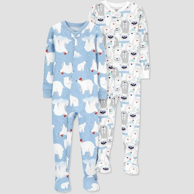 Baby Boys' Polar Bear Footed Pajama - Just One You® made by carter's Blue 12M