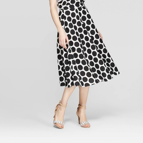 Women's Polka Dot Mid-Rise Circle Skirt - Who What Wear™ White/Black - image 1 of 5