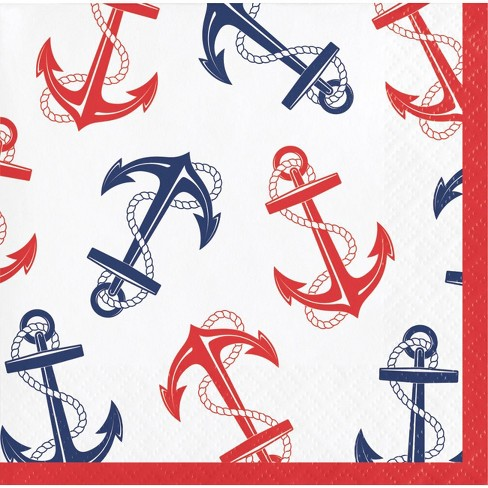 48ct Nautical Anchor Beverage Disposable Napkins - image 1 of 1
