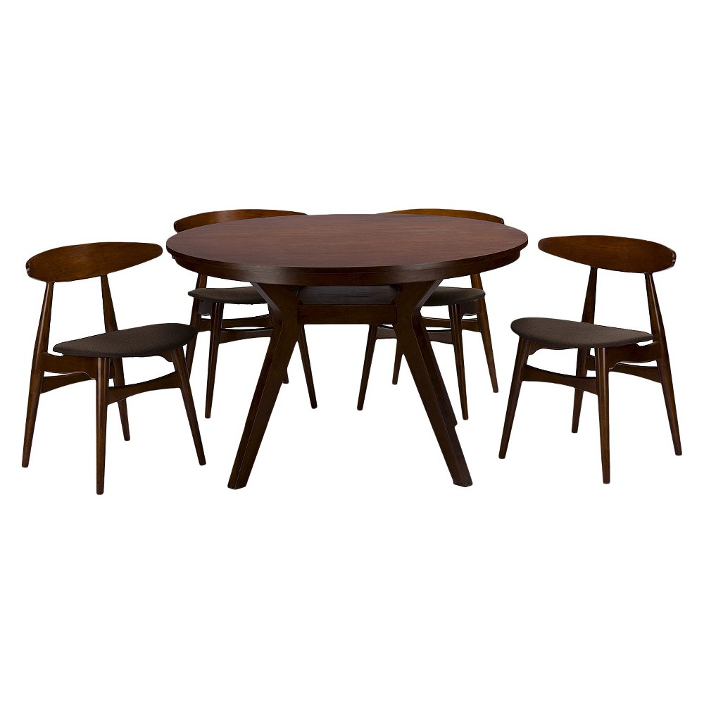 Flamingo Mid-Century 5 Piece Dining Set - Brown Walnut/Gray - Baxton Studio was $1314.99 now $986.24 (25.0% off)