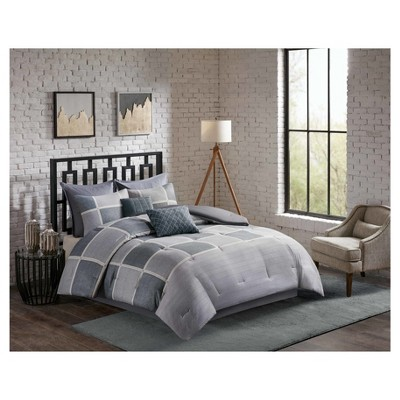 Black & Gray Austin Herringbone Print Comforter Set (Queen)8pc