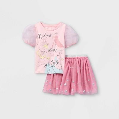 Toddler Girls' Disney Princess Bubble Sleeve Top and Bottom Set - Pink