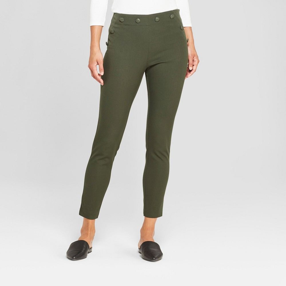 Women's Skinny Ankle Sailor Pants - A New Day Green 8