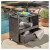 Corona Wicker Outdoor Serving Cart - Brown - Christopher Knight Home - image 3 of 4