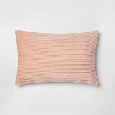 Standard Faux Fur Striped Pillowcase Blush Peach - Room Essentials™