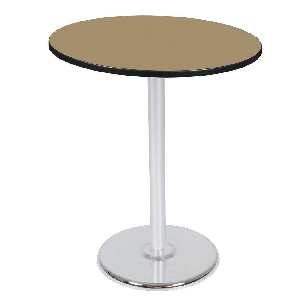 36 Via Cafe High Round Platter Base Table Gold/Chrome (Gold/Grey) - Regency