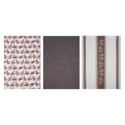 Kitchen Towel Print/Stripe/Solid Brown Set of 3 - Mu Kitchen