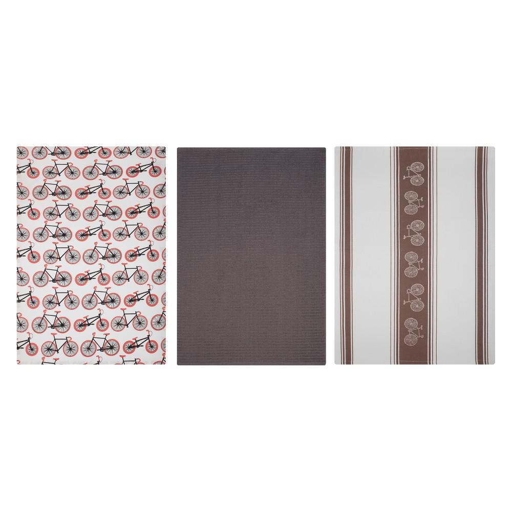 Kitchen Towel Print/Stripe/Solid Brown Set of 3 - Mu Kitchen, Multi-Colored