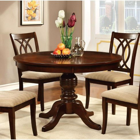 Round Table Top With Pedestal Dining Table Wood/Brown Cherry - Furniture of America - image 1 of 2