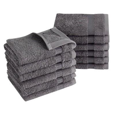12pc Villa Washcloth Set Gray - Royal Turkish Towels