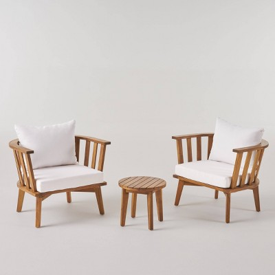 Chilian 3pc Acacia Wood Chair and Table Set - Teak/White - Christopher Knight Home