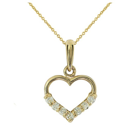 "Girls' Gold Over Silver Cubic Zirconia Heart Pendant-15"" Plated Chain-White - image 1 of 1"