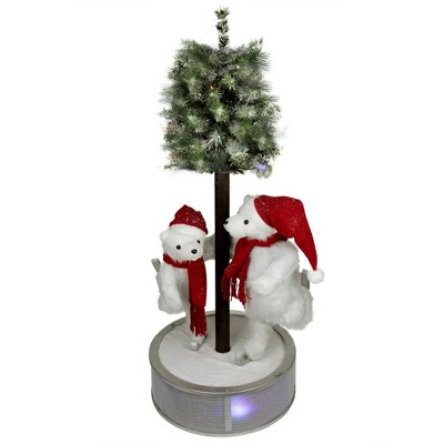 """Northlight 48"""" Pre-Lit Red and White Ice Skating Polar Bears with Flocked Tree Christmas Figurine"""