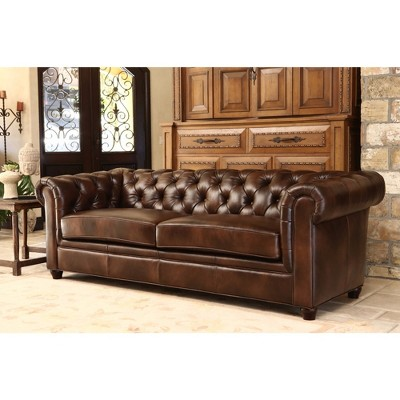 Keswick Tufted Leather Sofa   Abbyson Living : Target