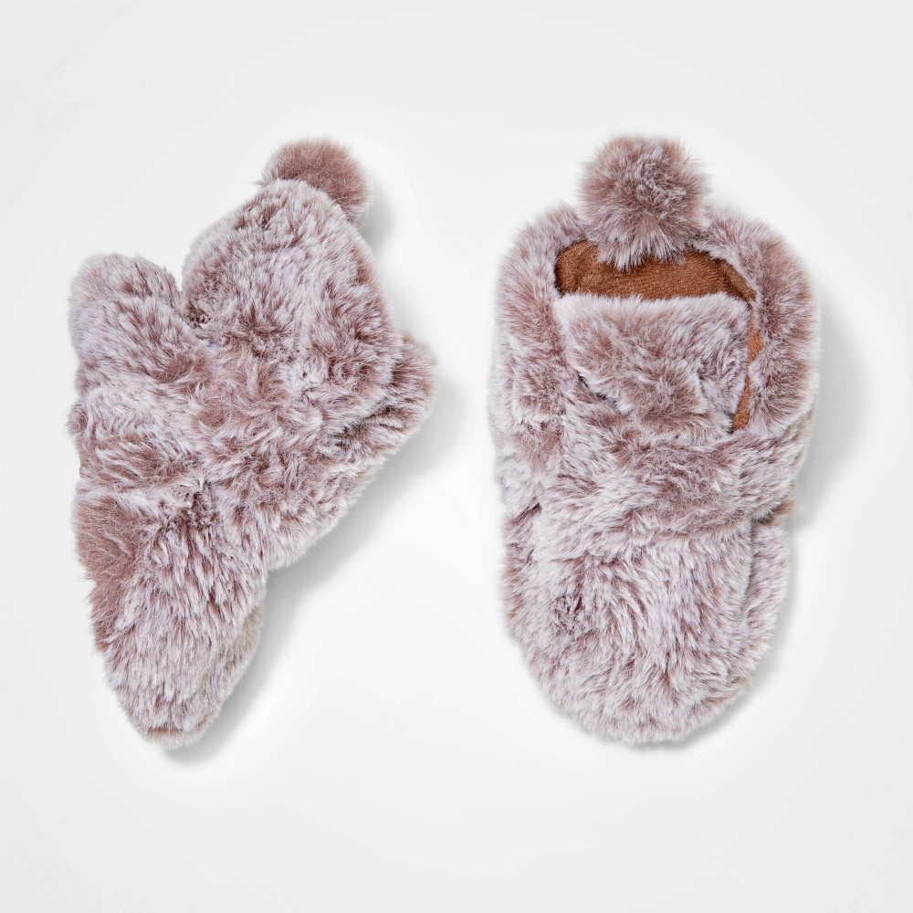 Image of Baby Buffalo Faux Fur Fuzzy Wrap Bootie Slipper - Cat & Jack Gray 0-3M, Toddler Unisex