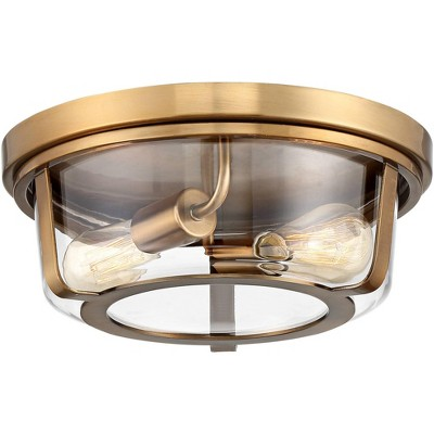 "Possini Euro Design Mid Century Modern Ceiling Light Flush Mount Fixture Warm Brass 13"" Wide 2-Light Clear Glass Bedroom Kitchen"
