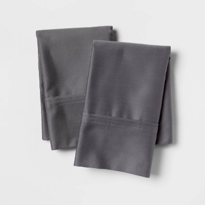 Standard 400 Thread Count Solid Performance Pillowcase Set Dark Gray - Threshold™