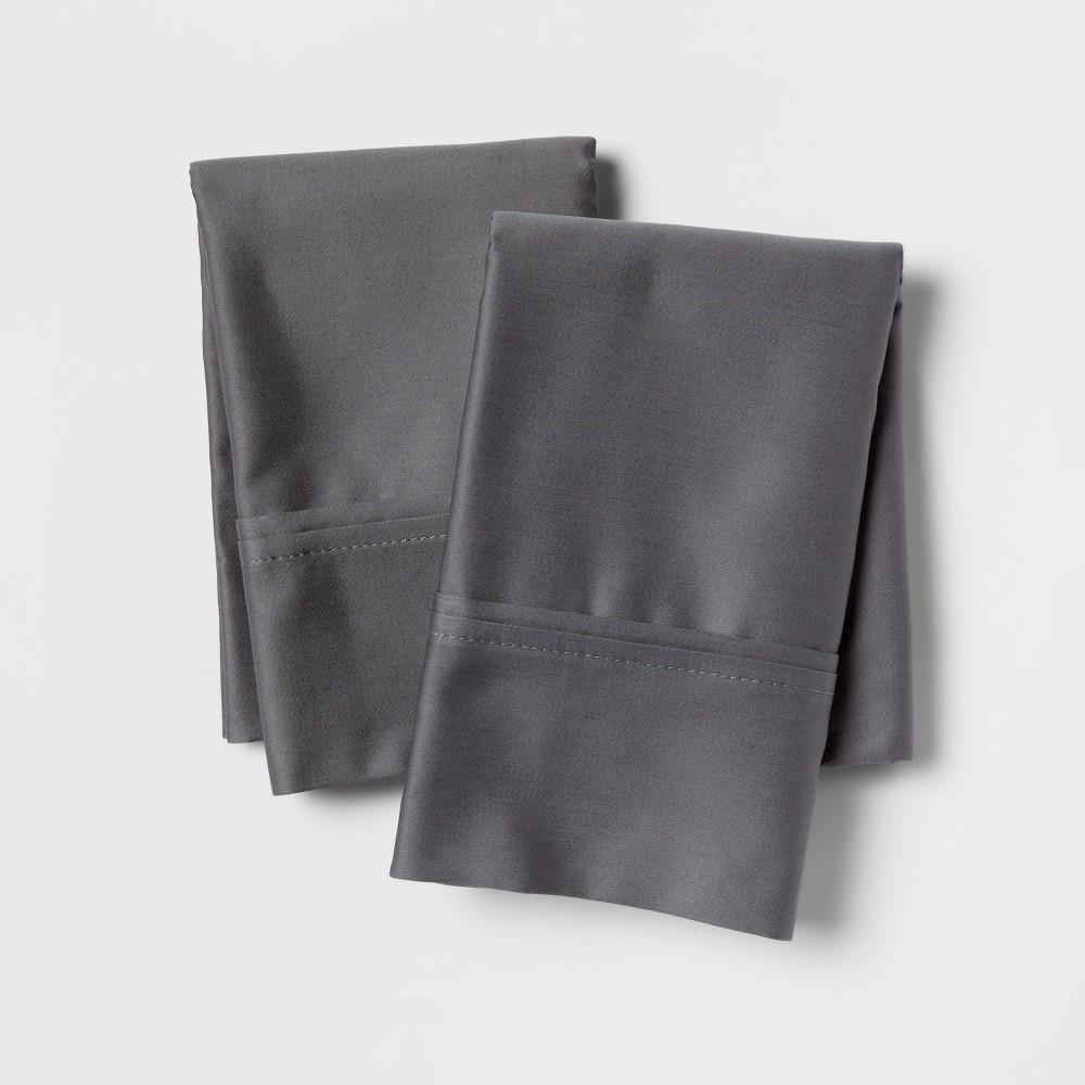 Standard 400 Thread Count Solid Performance Pillowcase Set Dark Gray Threshold 8482