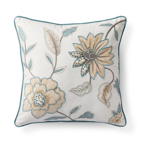 "Floral Embroidered Square Throw Pillow (18""x18"") - Threshold™ - image 1 of 2"