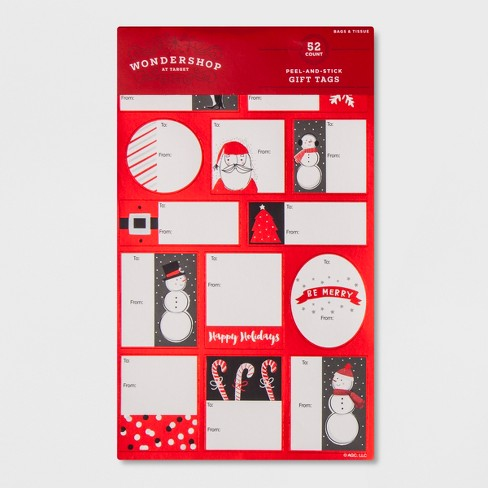 52ct Peel-and-Stick Red Accent Gift Tag Set - Wondershop™ - image 1 of 1