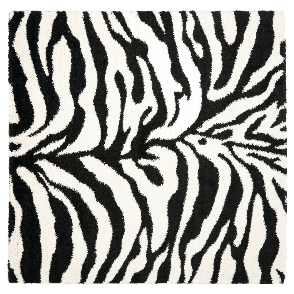 Ivory/Black Animal Print Loomed Square Area Rug - (6'7