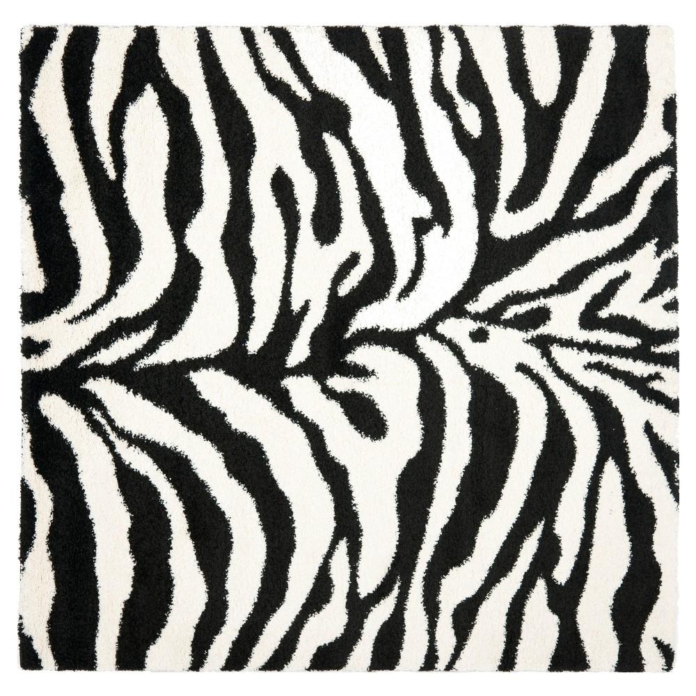 Low Price IvoryBlack Animal Print Loomed Square Area Rug 67x67 Safavieh White