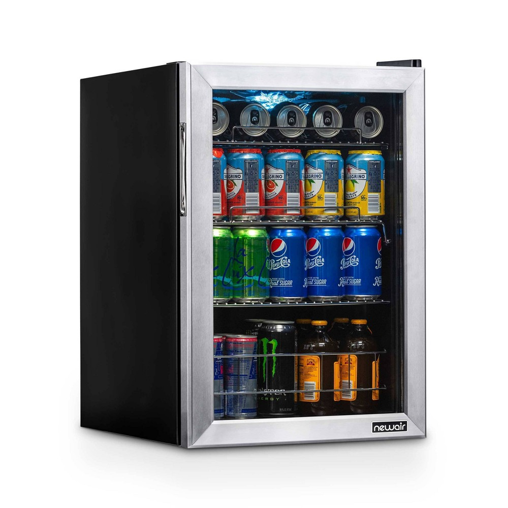 NewAir 90-Can Freestanding Beverage Fridge - AB-850 Stainless Steel Keep all your favorite beverages perfectly chilled and ready to serve in the NewAir 90 Can Compact Beverage Fridge. The freestanding design is ready to use out of the box, and adjustable shelves let you create customized storage for different sized cans and bottles.