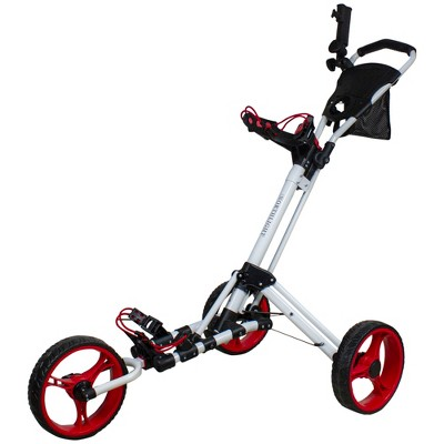"""Northlight 48"""" White and Red Easy Folding 3 Wheel Golf Bag Push Cart"""