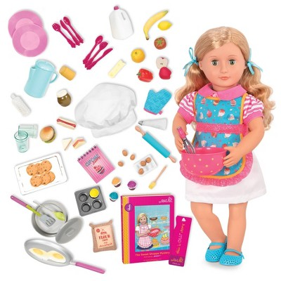 "Our Generation 18"" Doll with Cooking Set - Jenny & R.V. Seeing You Food Bundle"