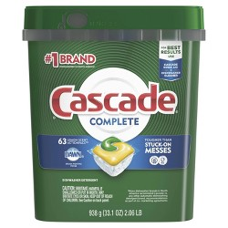 Cascade Complete ActionPacs Dishwasher Detergent - Lemon Scent - 63ct
