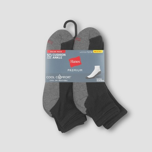 a7221694d1f59 Men's Hanes Premium 10Pk Black Ankle Socks : Target