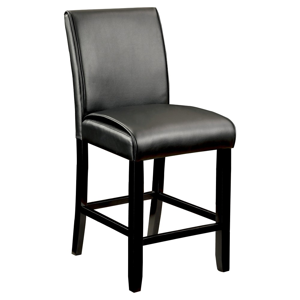 ioHomes Bailey II Leatherette Parson Counter Height Chair - Black (Set of 2)